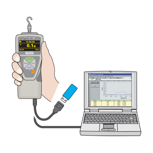 ZTA models export gauge memory or save continuous data to USB flash drives or data acquisition software