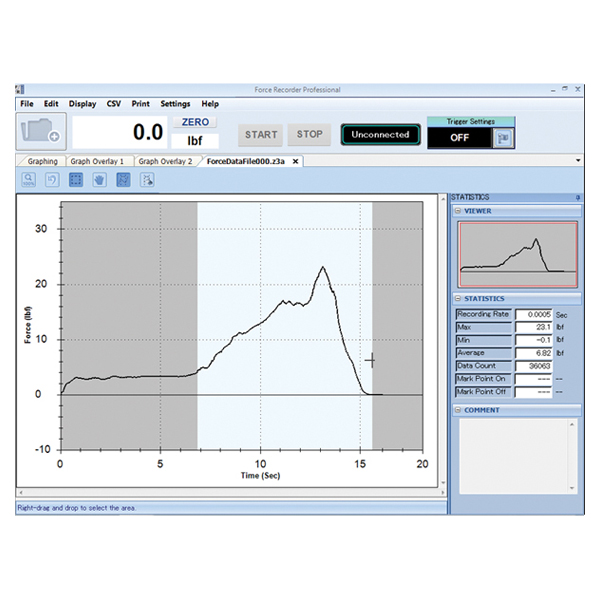 Data Acquisition Software : Force recorder data acquisition software imada inc