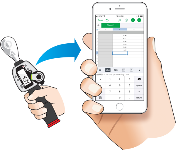 Wireless digital torque wrench and iPhone®
